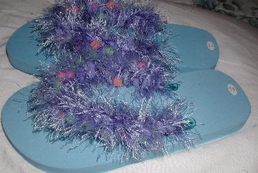 f461c98071293a Light blue flip flops. Light blue glow fur. Speciality yarn denin blue.  Fuzzy soft long denin blue puffs light glow pony beads crocheted into the  fur.